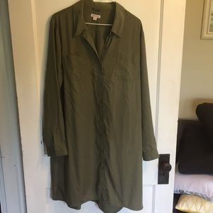 Merona army green shirt dress sz XL